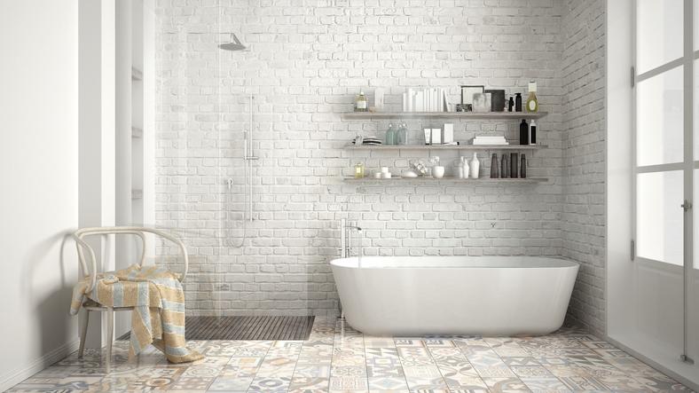 Scandinavian bathroom, classic white vintage interior designScandinavian bathroom, classic white vintage interior design